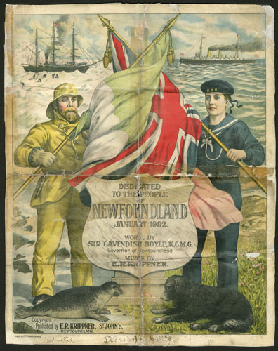 Photo Credit: The Rooms Provincial Archives  MG 596 -110 sheet music, lyrics, and illustrated cover for patriotic composition, Newfoundland.
