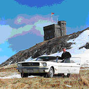Stanley Tucker with the first Mustang at Signal Hill.