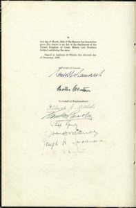 Photo Credit: The Rooms Provincial Archives: GN 175; Terms of Union of Newfoundland with Canada (signatures)
