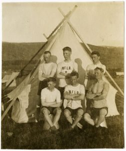 Photo Credit: The Rooms Provincial Archives: VA 37-35.1; Group of Newfoundland soldiers taking part in athletic events. L-R (Front row): Eric Robertson (Regiment # 497).