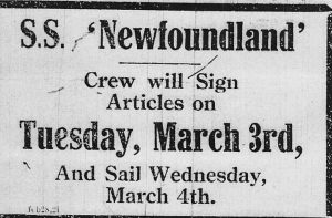 S.S. Newfoundland articles