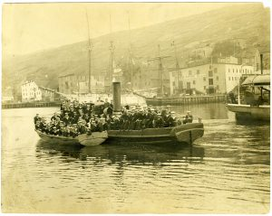 Photo Credit: The Rooms Provincial Archives. A 11-165; Departure of the Newfoundland Detachment to the Great War (Naval Reservists embarking for England, 1914.