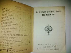 Prayer Book distributed to the volunteers of the Newfoundland Regiment  (click on to enlarge)