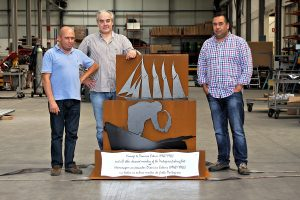 Photo Credit:  The memorial was designed by the Portuguese artist Antonio Neves (centre). It will be delivered to St.John's on a Portuguese Nval vessel on Friday, August 14.
