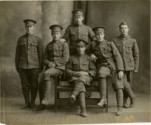Photo Credit: The Rooms Provincial Archives: A 97-5. The Regimental service hat with the caribou pin was introduced in 1916. Can you identify any of these Newfoundland soldiers?