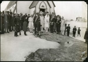 Photo Credit: The Rooms Provincial Archives: VA 94-90.1:  A Labrador wedding.  Do you recognize this church? Can you tell us what community this wedding is taking place in?